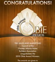 Atlanta SMC & AtlantaNewHomesDirectory.com Atlanta SMC Congratulate the 2010 Obie Award Winners!
