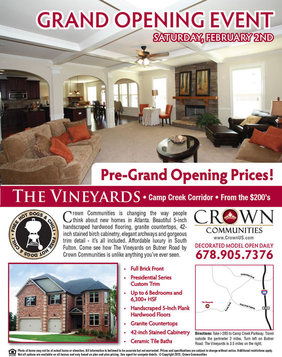 Grand Opening Event And Cookout At The Vineyards By Crown Communities This Saturday Atlanta New Homes News